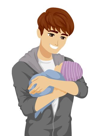 Illustration of a Young Teenage Father Smiling and Carrying His Baby