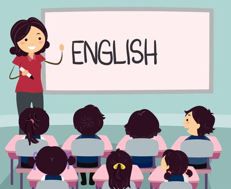 Illustration of an Asian Girl Teacher Teaching English to a Group of Kids in Class