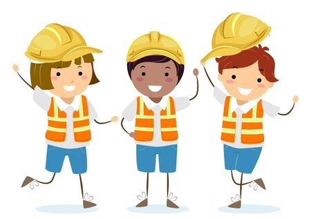 Illustration of Stickman Kids Wearing Yellow Construction Hard Hats and Reflector or Safety Vest Stok Fotoğraf