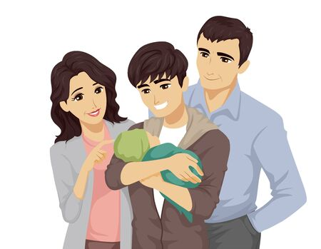 Illustration of a Teenage Guy Holding His Baby with His Parents Near Him Stock Photo