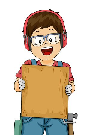 Illustration of a Kid Boy Wearing Goggles, Earmuffs and Gloves Showing a Blank Wood Plank Board for Woodworking Stok Fotoğraf