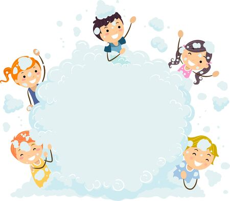 Illustration of Stickman Kids and a Foam Party Bubble Board