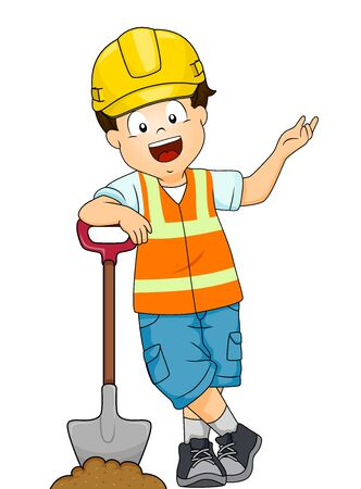 Illustration of a Kid Boy Wearing Yellow Hard Hat and Vest Standing Beside a Shovel Presenting Something on His Left