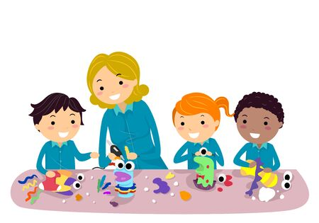 Illustration of Stickman Kids Making Cute Sock Puppets with Teacher in Class