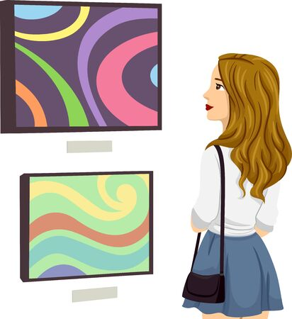 Illustration of a Teenage Girl Looking at a Painting in an Exhibit or Art Gallery Stock fotó - 132117197
