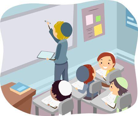 Illustration of Stickman Kids Jewish Boys in Classroom with Teacher Writing on White Board