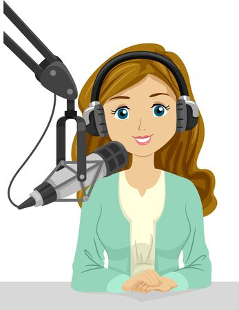 Illustration of a Teenage Girl Wearing Headphones and Speaking on a Microphone for Broadcasting or Podcasting