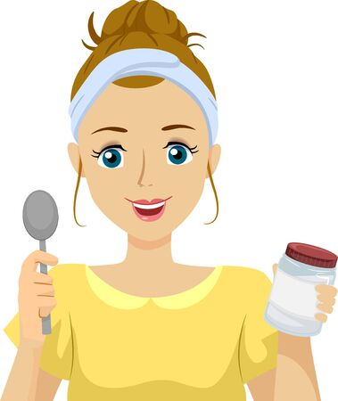 Illustration of Teenage Girl Holding a Spoon and a Container for Oil Pulling Stok Fotoğraf