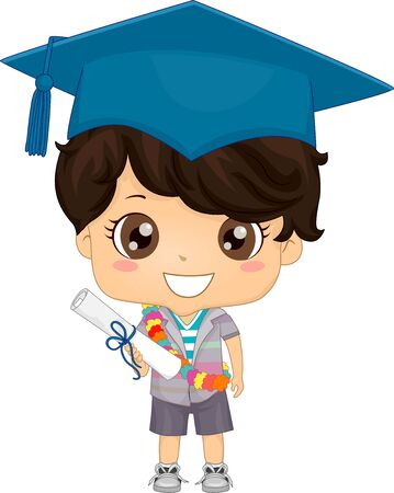 Illustration of a Kid Boy with Floral Sash Wearing Graduation Cap and Holding Diploma Banco de Imagens