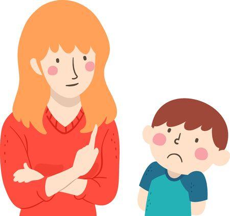 Illustration of a Sad Kid Boy Listening to His Teacher Correcting His Bad Behavior