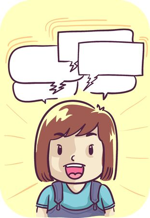 Illustration of a Kid Girl Talking Very Fast, with Several Blank Speech Bubbles