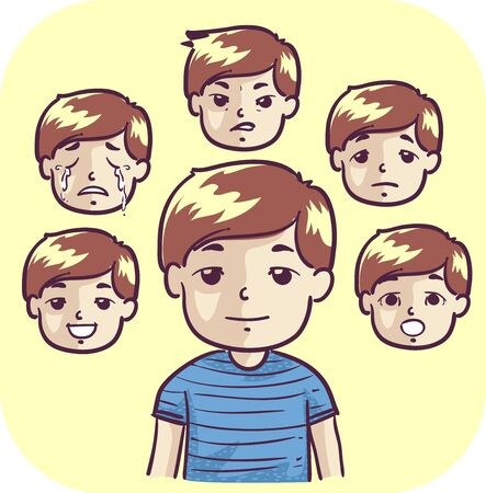 Illustration of a Kid Boy with Faces Showing Different Emotions from Happy, Sad, Worried, Crying, Anger and Surprise Stockfoto - 132117160