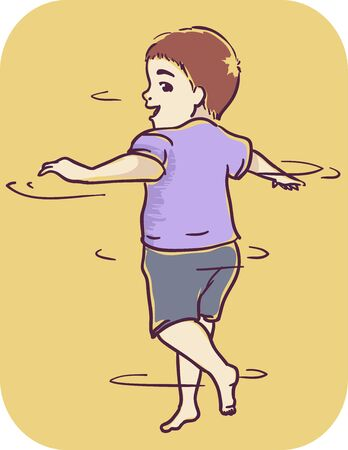 Illustration of a Kid Boy Spinning Around in Circles