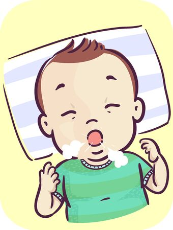 Illustration of a Baby Kid Boy Coughing Stockfoto