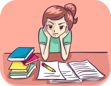 Illustration of a Kid Girl with Hands on Face Frustrated with her Homework, with Open Notebook, Paper, Pencil and Books Stockfoto