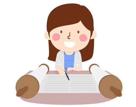 Illustration of a Kid Girl Having a Bat Mitzvah, Using a Yad or Pointer and Reading the Torah Stock Photo