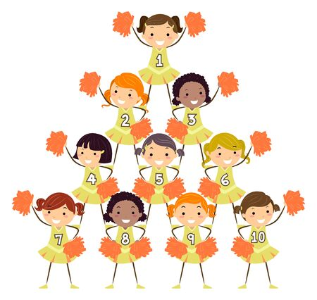 Illustration of Stickman Kids Cheer Leading Girls Doing a Pyramid Stunt with Numbers from One to Ten Stock fotó - 131646765