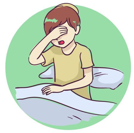 Illustration of a Kid Boy Saying the Shema in Bed