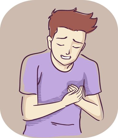 Illustration of a Teenage Guy Holding His Left Breast or Chest in Pain Banco de Imagens - 132117173