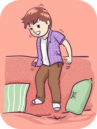 Illustration of a Kid Boy Jumping on the Sofa, Unable to Sit Still