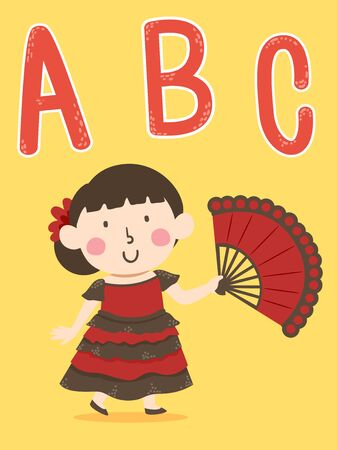 Illustration of a Kid Girl Wearing Spanish Costume and Holding an Open Fan with ABC