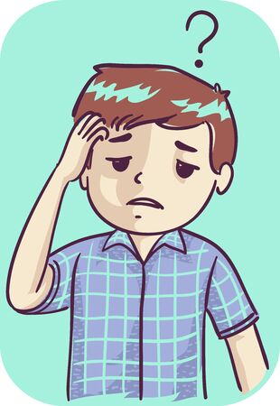 Illustration of a Kid Boy with Poor Memory Scratching His Head with Question Mark