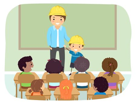 Illustration of Stickman Kids with Father and Kid in Classroom Wearing Yellow Construction Hard Hat 写真素材