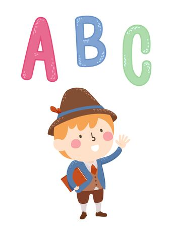 Illustration of a Kid Boy Wearing Italian Costume Holding a Book with ABC on Top