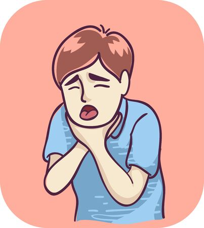 Illustration of a Teenage Guy Holding His Neck Coughing and Choking Stockfoto