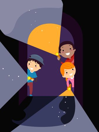 Illustration of Stickman Kids Holding Flash Light and Looking Inside a Tunnel at Night
