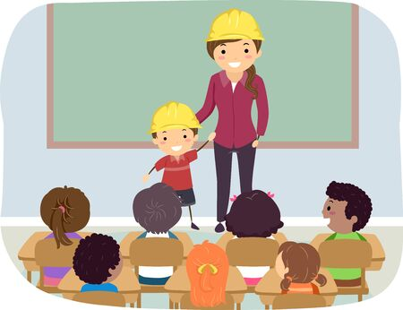 Illustration of Stickman Kids in Classroom with Mother and Kid Wearing Yellow Construction Hard Hat