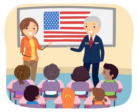 Illustration of Stickman Kids In Class Listening to their Teacher and their Guest, a Veteran Soldier