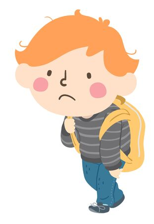 Illustration of a Stressed Kid Boy Student Carrying Backpack and Walking Home Slowly Фото со стока