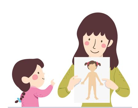 Illustration of a Mother Teaching Her Kid Girl About Female Body Parts