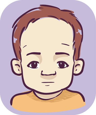 Illustration of a Kid Boy with a Large Head and Prominent Forehead