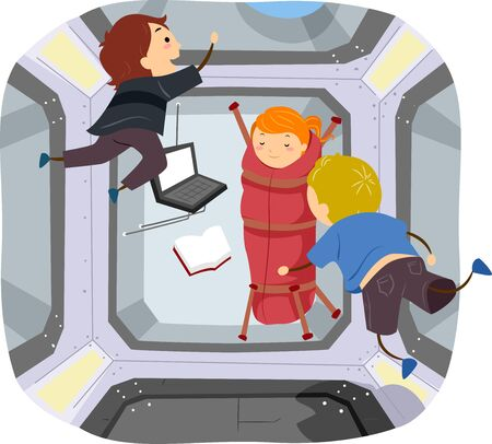Illustration of Stickman Kids in the Space Station Getting Ready to Sleep