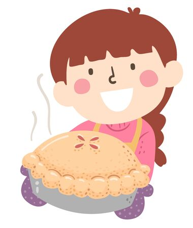 Illustration of a Kid Girl Wearing Apron and Gloves Showing a Freshly Baked Pie Stok Fotoğraf