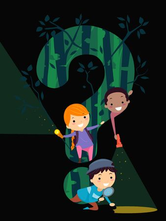 Illustration of Stickman Kids in the Woods at Night with Flash Light and a Question Mark 写真素材
