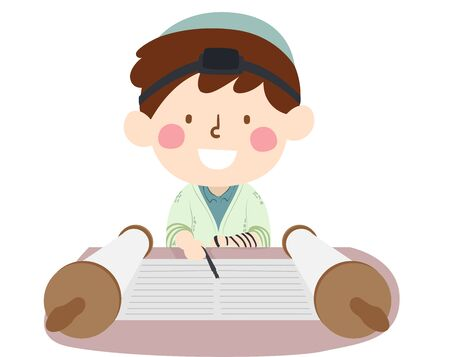 Illustration of a Kid Boy Having a Bar Mitzvah, Using a Yad or Pointer and Reading the Torah