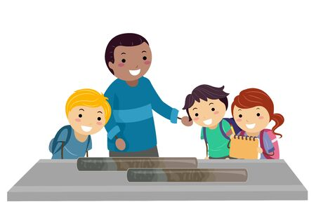 Illustration of Stickman Kids with Teacher Looking at Sediment Samples for Oceanography