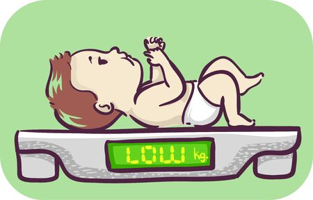Illustration of a Baby Kid Boy on Weighing Scale with Low Text on Screen, Low Weight Gain 写真素材