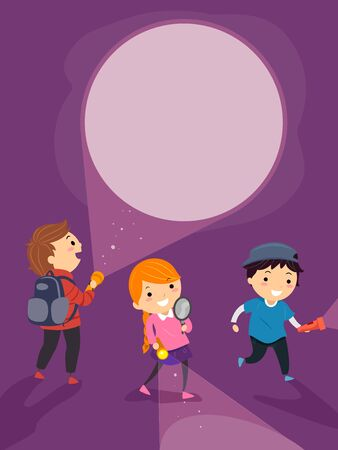 Illustration of Stickman Kids Holding Flashlight and Magnifying Glass Solving a Mystery