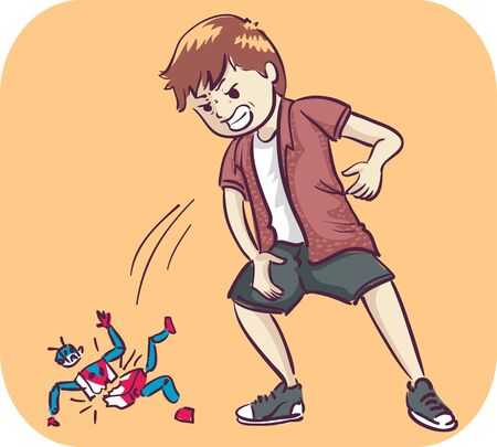 Illustration of a Kid Boy Throwing a Toy Hard on the Floor Breaking It in an Emotional and Angry Outburst Stok Fotoğraf