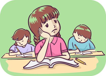 Illustration of a Bored Kid Girl in Class with Open Book Looking Up and Thinking