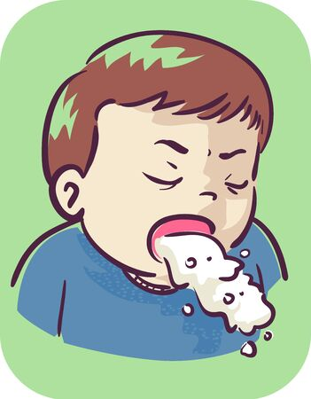 Illustration of a Kid Boy Toddler with Open Mouth and Vomiting Foto de archivo - 132117246