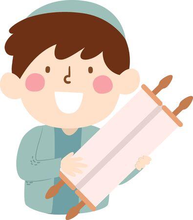 Illustration of a Jewish Kid Boy Holding a Torah Scroll