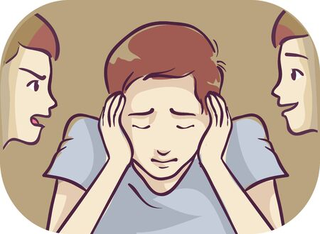 Illustration of a Teenage Guy Covering Ears, Hearing Different Voices