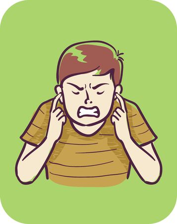 Illustration of a Teenage Guy with Fingers Covering Ears