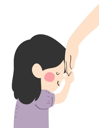 Illustration of a Kid Girl Bowing, Holding an Adults Hand and Pressing It to Her Forehead as Sign of Respect Stok Fotoğraf