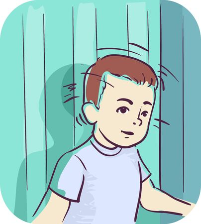 Illustration of a Kid Boy Banging His Head Backwards Against the Wall
